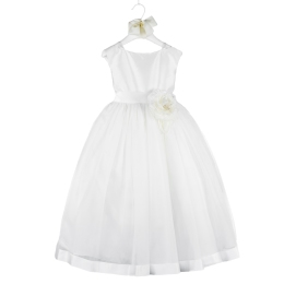 Girls White Cerimony Dress in Silk and Tulle