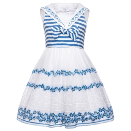 Girls Sailor Dress With Sangallo Embroidery