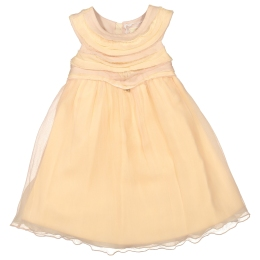 Girls Peach Chiffon Organza Dress