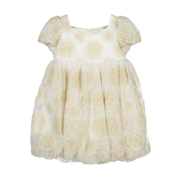Girls Tulle Dress With Embroidered Gold Circles