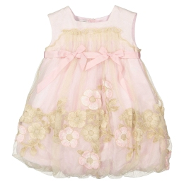 Baby Girls Pink Dress with Gold Flowers