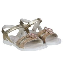 Girls Golden Glitter Sandals