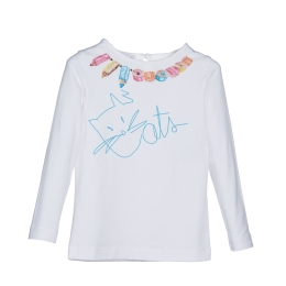 Girls T-Shirt with Cat and Pencils Print