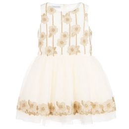 Girls Tulle Dress With Flower Appliccations