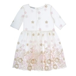 Girls Dress with Embroidered Flowers