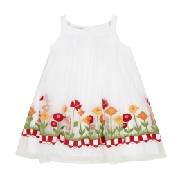 Girls Trapeze Dress With Embroidered Flowers