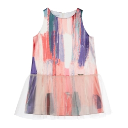 Girls A-Line Dress with Abstract Pattern