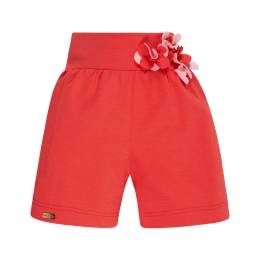 Girls Cotton Shorts With Flower Aplication