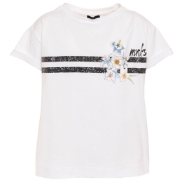 Girls T-shirt With Glitter Stripes & Flower Patches