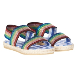 Girls Lurex Rainbow Sandals
