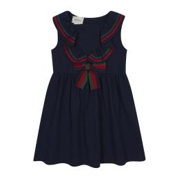 Girls Piquet Dress With Frills & Bow