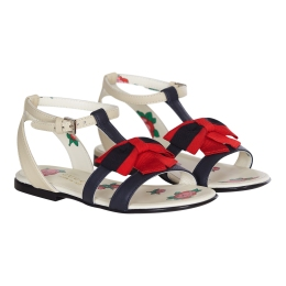 Girls Leather Sandals With Web Bow