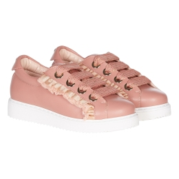 Girls Lace Up Rose-Gold Sneaker