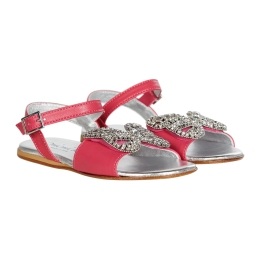 Girls Sandals With Jeweled Butterfly