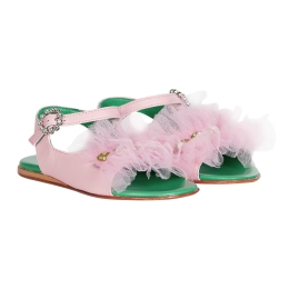 Girls Sandals With Tulle and Rhinestones Application