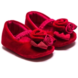 Baby Girls Velvet Baillerinas With Rose