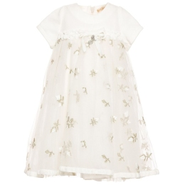 Baby Girls Tulle Dress With Embroidered Gold Rose Buds