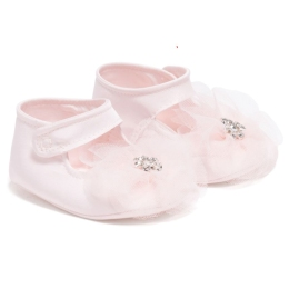 Baby Girls Tafetta Shoes With Tulle Flower