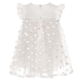 Baby Girls Tulle Dress With Embroidered Hearts