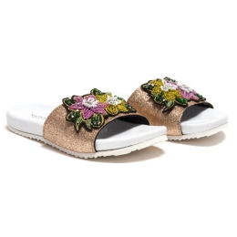Girls Glitter Slide With Sequin Flower Patch