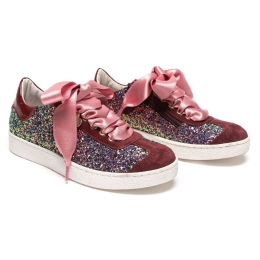 Girls Burgandy Glitter Sneakers