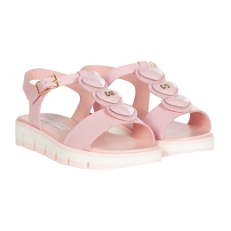 Girls Patent Leather Heart Sandals With Rubber Sole
