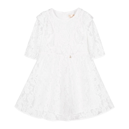 Girls Floral Lace Dress With Frills