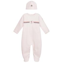 Baby Girls Hat & Logo Print Babygrow