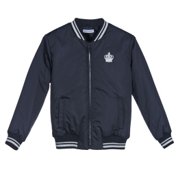 Boys Padded Bomber Jacket with crown embroidered detail