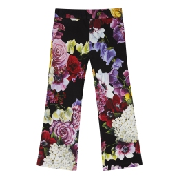 Girls Jersey Bell-Bottom Floral Trousers