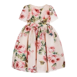 Girls Silk Dress With Rose & Butterfly Print