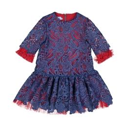 Girl's Macramé Lace & Plissé Tule Dress