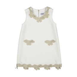 Girls Ivory Dress With Gold Bow