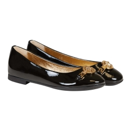 Girls Patent Leather Ballerinas With Medusa Medallion