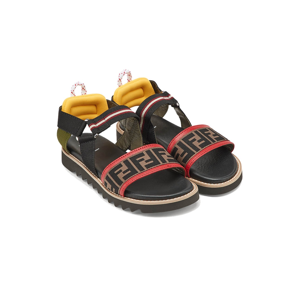 Leather Sandals With Logo of FENDI in