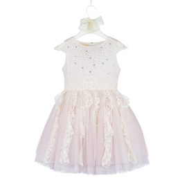 Girls Pale Pink Dress With Diamand Trims On The Chest