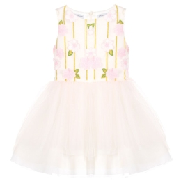 Girls Layered Tulle Dress With Flower Applications