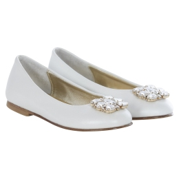 Girls Ivory Pumps with Jewels
