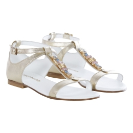 Girls Leather Sandals With Jewels