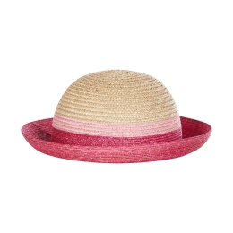 Girls Straw Hat With Pink Stripes
