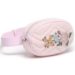 Girls Bouclé & Floral Belt Bag With Chain