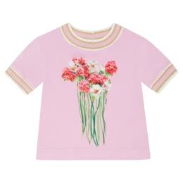 Girls Bouquet Print T-shirt With Rib