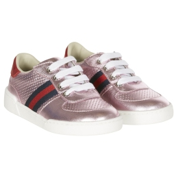 Girls Pink Leather Sneaker With Web Detail