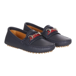 Boys Leather Mocassin With Web