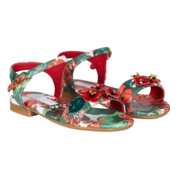 Girls Geranium Print Sandals With Applications