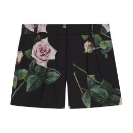 Girls Tropical Rose Print Cotton Shorts