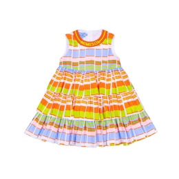 Girls Cotton Dress With Plissé Print