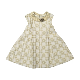 Girls Gold and White Dress with Necklace