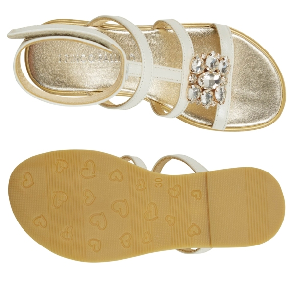 Girls Sandals with Velcro and Jewels PINCO PALLINO