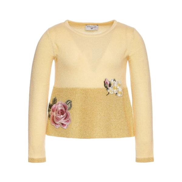 Girls Knitted Sweater With Rose Patches Monnalisa